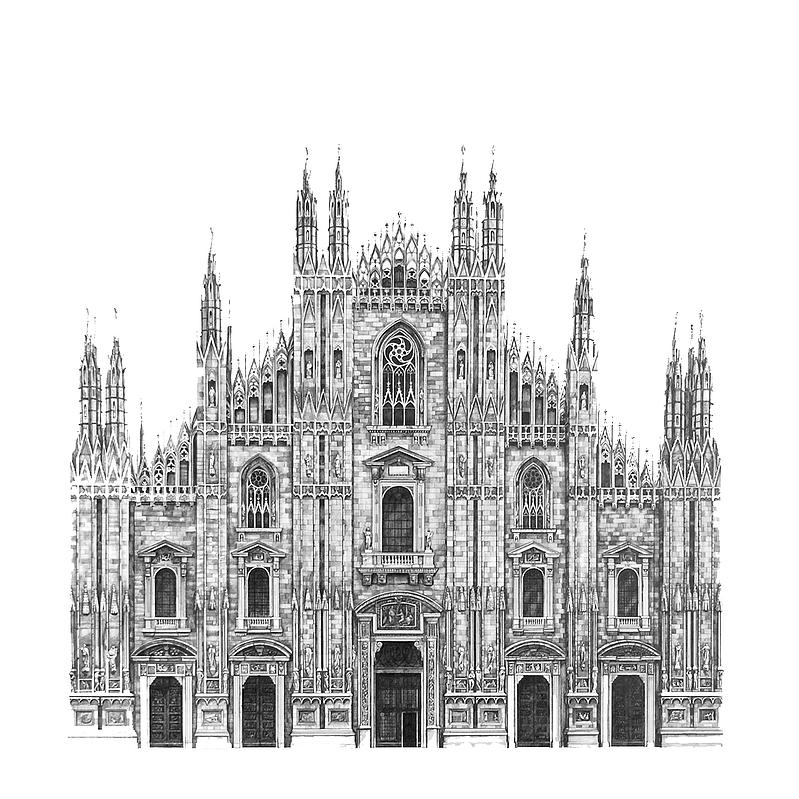 08-Il-Duomo-Cathedral-Milan-Minty-Sainsbury-Architectural-Street-and-Building-Drawings-www-designstack-co
