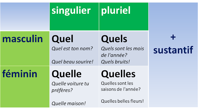 Quel, quelle, quels, quelles - zaimki przymiotne pytajne - tabela 2 - Francuski przy kawie