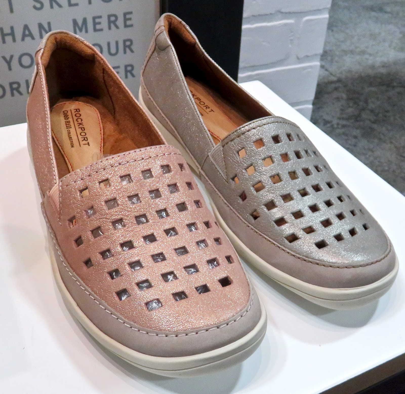 COBB HILL is now in the Rockport family-loves the metallic leather slip-on  with square cut-outs...atop the signature cushioning insole. Women's