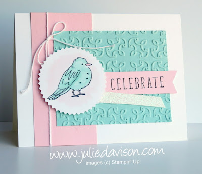 Stampin' Up! Color Me Happy + Stampin' Blends Celebrate bird card ~ www.juliedavison.com