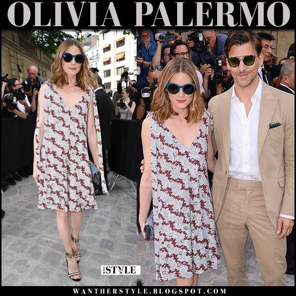 Olivia Palermo in printed mini valentino dress and velvet sandals gianvito rossi augusta what she wore july 5 2017 paris haute couture week