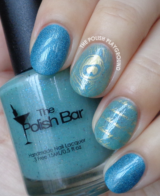 Subtle Gold Feather and Words Stamping Nail Art