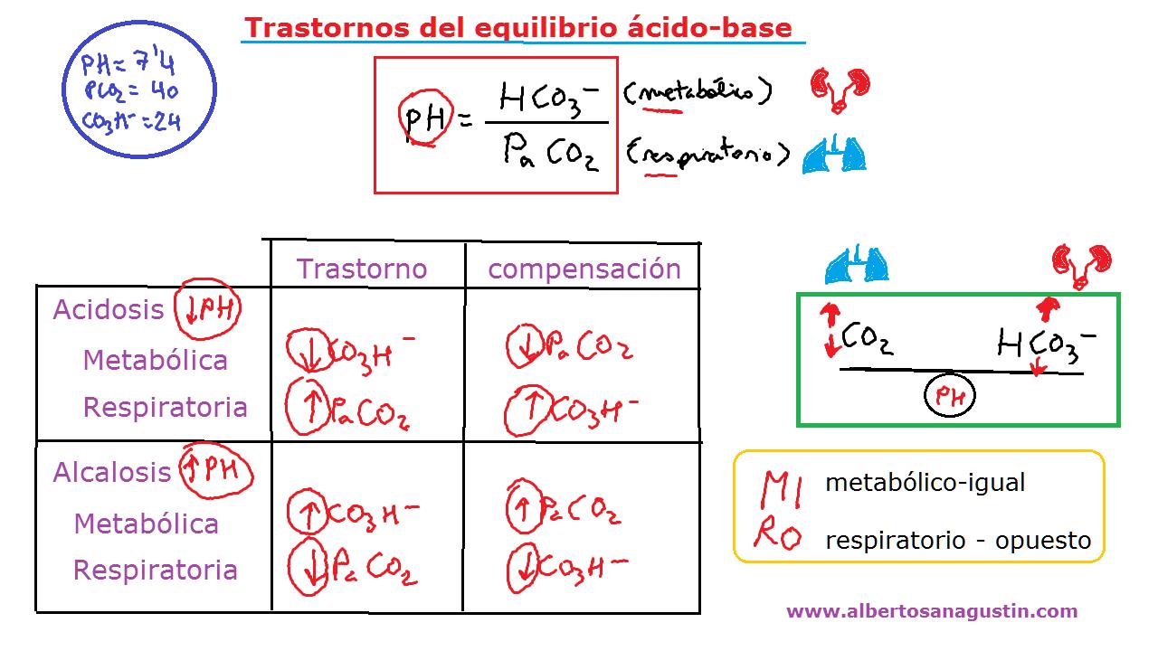 equilibrio ácido-base, acidosis, alcalosis, respiratoria, metabólica