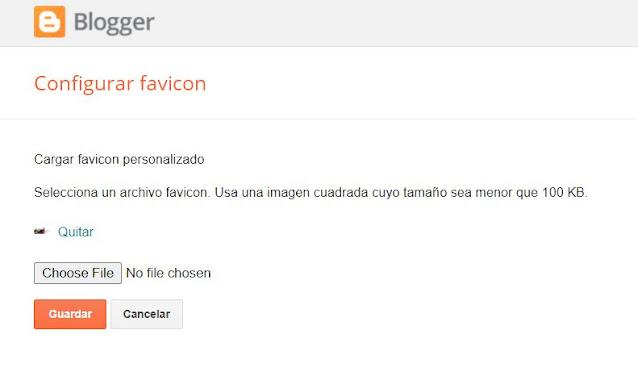 Se va a abrir una nueva pantalla, en la cual deberás escoger el archivo para tu FAVICON, esta debe ser una imagen cuadrada que pese menos de 100KB.