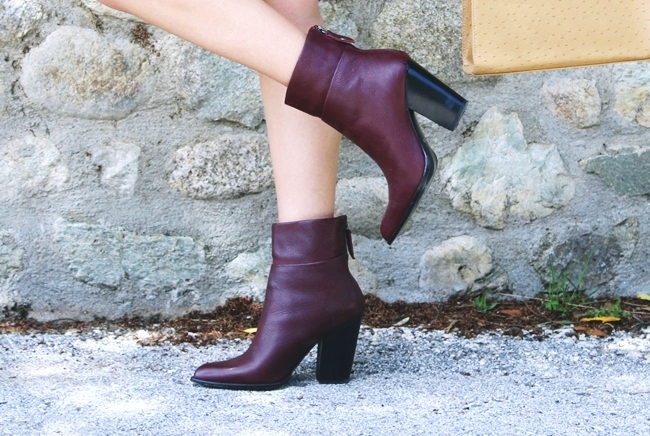 Burgundy Aldo Fullah Sugah leather booties bordo kozne cizmice