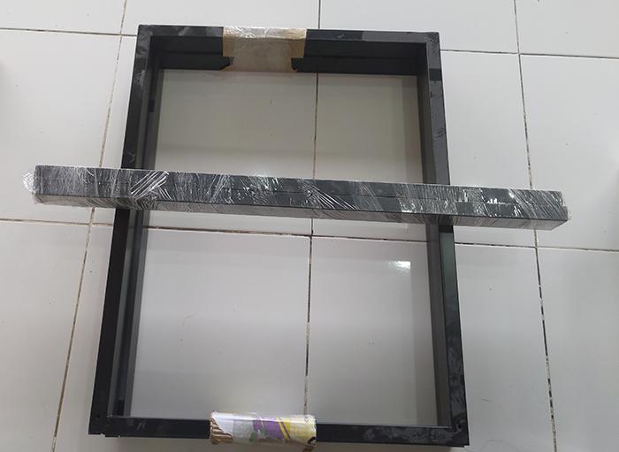 Chân bàn sắt hình chữ nhật màu đen (2 thanh ngang liên kết) sơn tĩnh điện rất chắc chắn