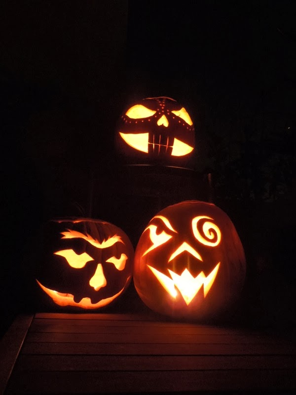 Illuminated Halloween pumpkins