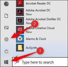رمز الإعدادات في Windows 10
