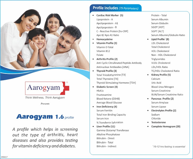 Aarogyam 1.6 Profile - Advanced Full Body Checkup @ Rs 2000 / 101 tests