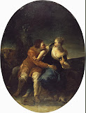 Genre Scene: Persistent Cavalier by Giuseppe Maria Crespi - Genre Paintings from Hermitage Museum
