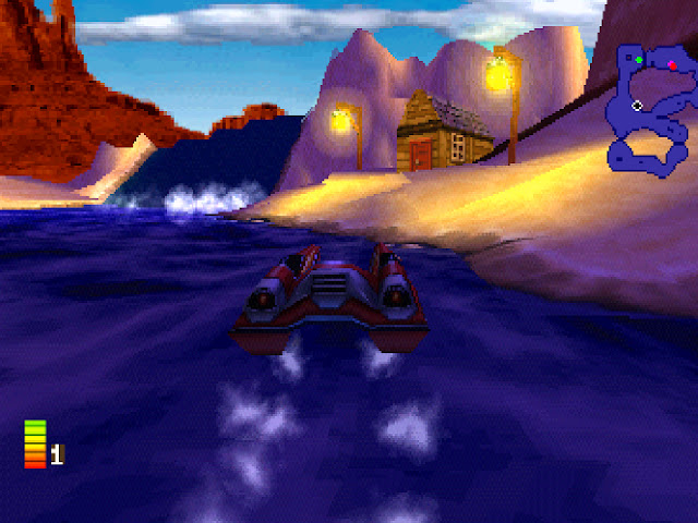 A car and boat combination drives across the water in a desert area.