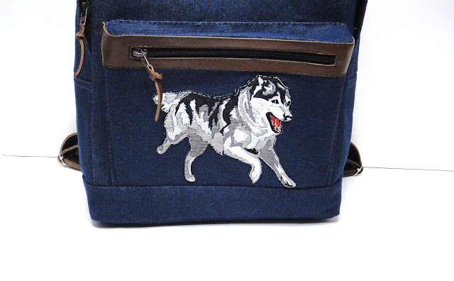 Вышитый рюкзак для девочки Собака хаска - ручная работа, рисунок на усмотрение заказчика