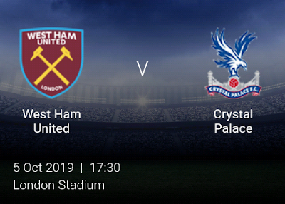 LIVE MATCH: West Ham United Vs Crystal Palace Premier League 05/10/2019