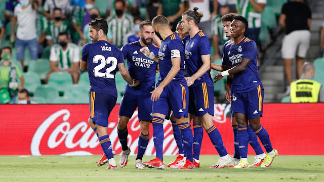 Real Madrid players celebrate goal at Real Betis