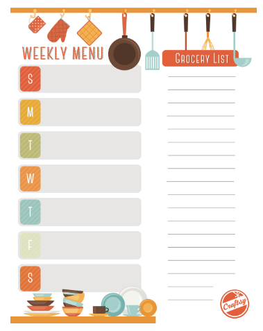 free weekly meal planner and grocerly list