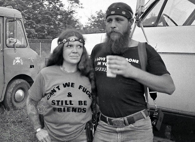 """Can't We Fuck & Still Be Friends"" t-shirt as worn by hippie biker chick. PYGear.com"