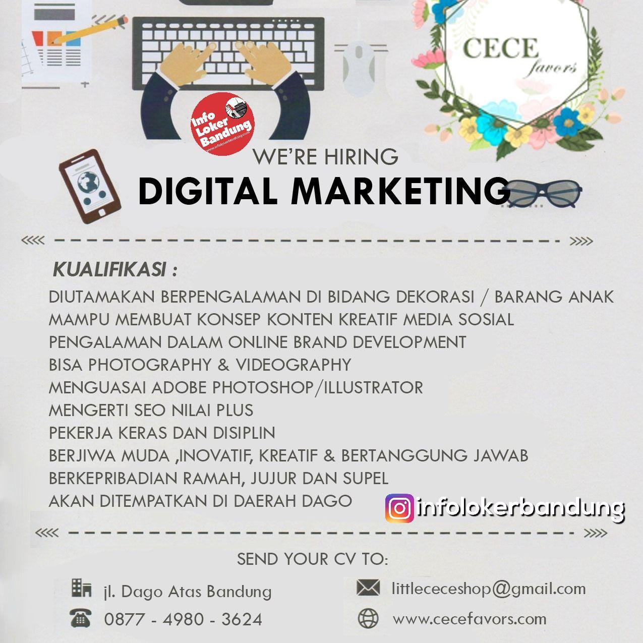 Lowongan Kerja Digital Marketing Cecefavours Bandung Januari 2019