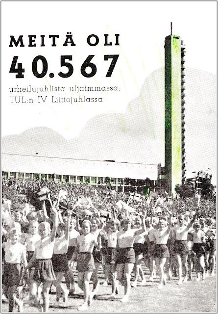 """Liittojuhlajuliste, jossa joukot marssilla Kaisaniemestä Stadionille (joka näkyy tastalla). Tekstinä """"Meitä oli 40.567""""."""
