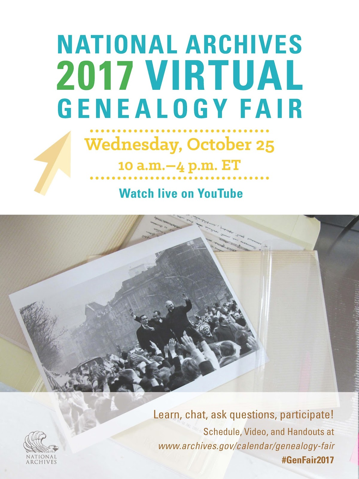 FREE NARA 2017 Virtual Genealogy Fair (save the date -- 25 October 2017) #genfair2017