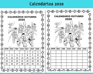Calendário Outubro turma da Mônica para imprimir colorir e preencher em 2020.