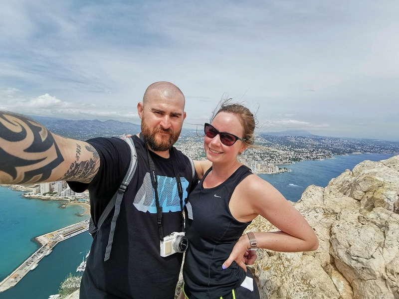Selfie at the top of Penon d'ifach in Calpe, Spain