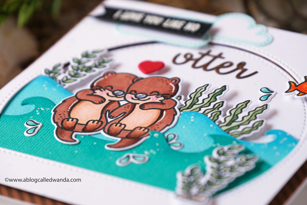 Sunny Studio Stamps: My Otter Half Best Fishes Stitched Semi Circle Dies Everyday Card by Wanda Guess