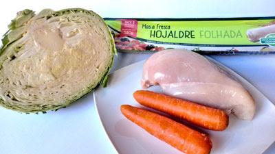 ingredientes trenza de hojaldre con pollo y verduras