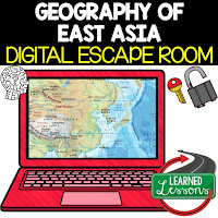 East Asia Digital Escape Room East Asia Geography Vocabulary All About East Asia Activity Mapping East Asia Activity  Physical Geography of East Asia Activity Timeline of East Asia Activity