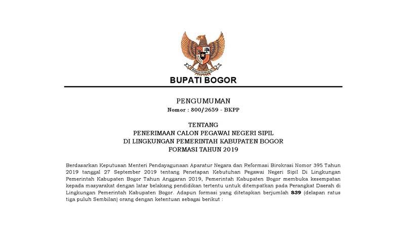 Penerimaan CPNS Kabupaten Bogor
