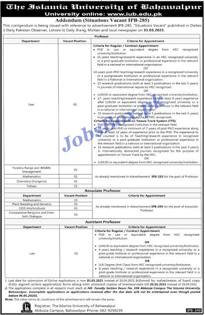 islamia-university-of-bahawalpur-iub-jobs-2021