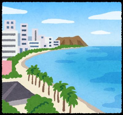 ワイキキビーチのイラスト