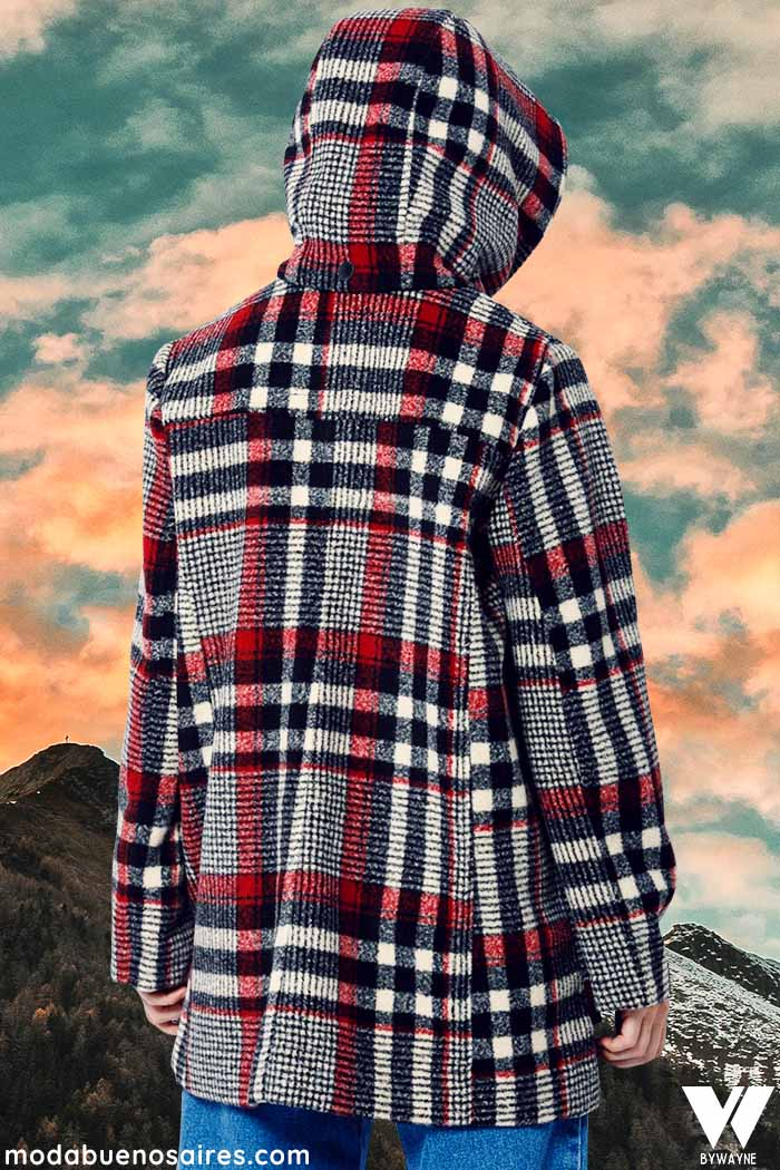 tapados de paño a cuadros moda invierno 2021