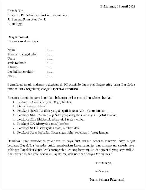 Contoh Application Letter Untuk Operator Produksi (Fresh Graduate) Berdasarkan Inisiatif Sendiri