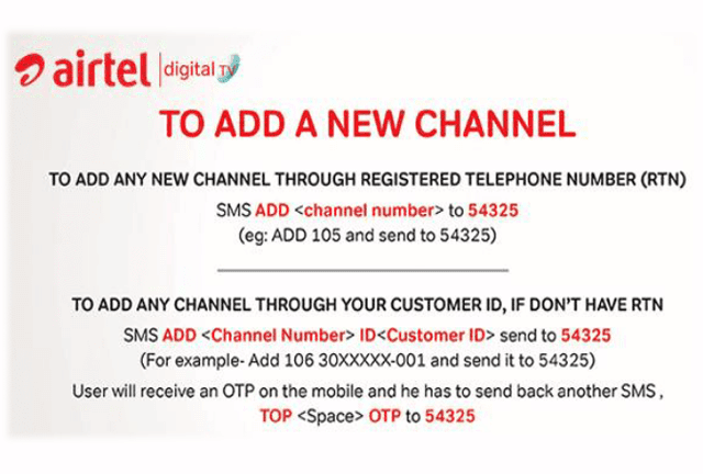 How can I ADD a channel from Airtel digital TV