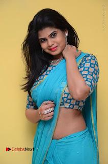 Telugu Actress Alekhya Stills in Green Saree at Swachh Hyderabad Cricket Press Meet  0048.JPG
