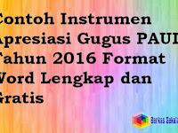 Contoh Instrumen Apresiasi Gugus PAUD Tahun 2016 Format Word Lengkap dan Gratis