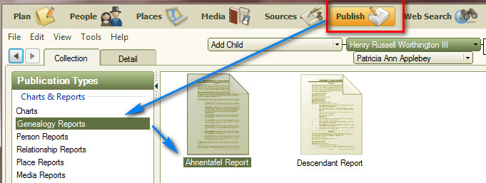 family tree maker user creating ahnentafel report in family tree