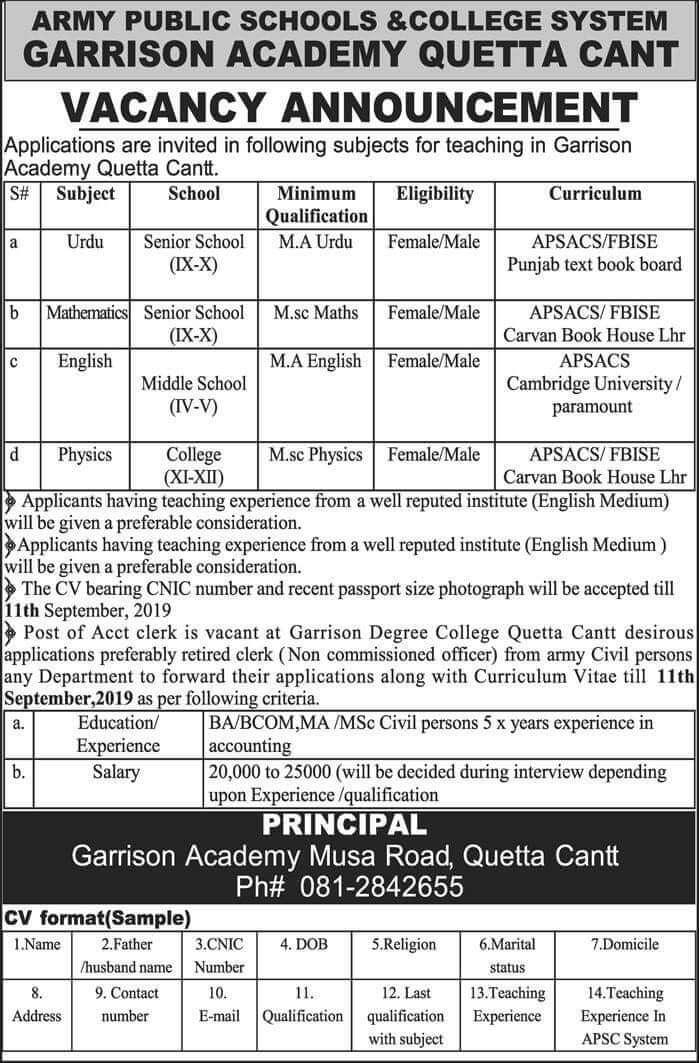 Jobs in Garrison Academy Quetta Cantt 2019