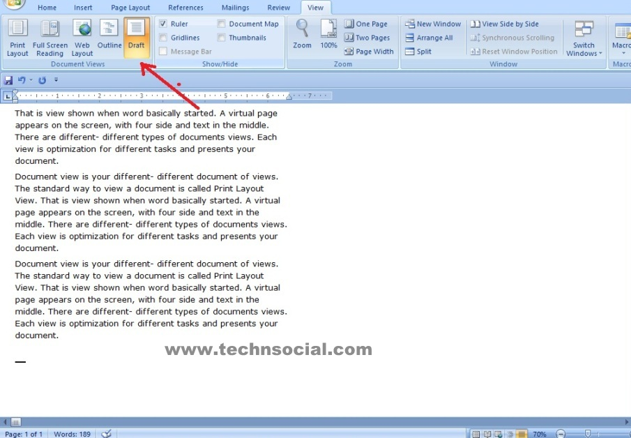 how to go to mouse mode in microsoft word 2010
