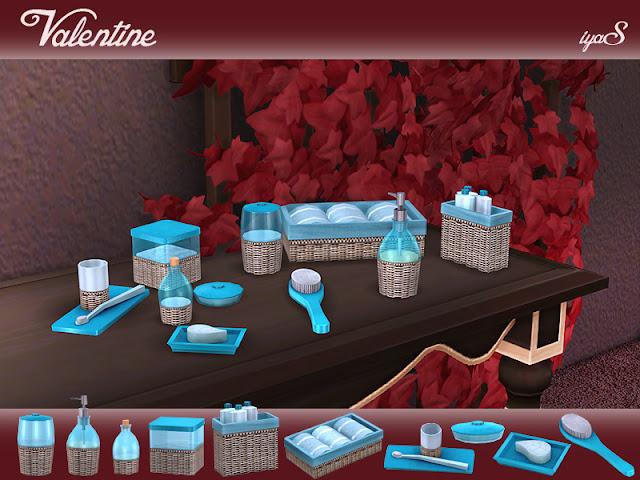 Valentine Bathroom set Набор для ванной комнаты Valentine для The Sims 4 Уютные предметы первой необходимости для вашей пасторальной ванной. В набор входят 10 декоративных предметов. Каждый объект имеет 4 цветовых вариации. Щетка для волос имеет 6 цветовых вариаций. Также каждый объект можно найти в категории Декоративные - Беспорядок. Автор: soloriya