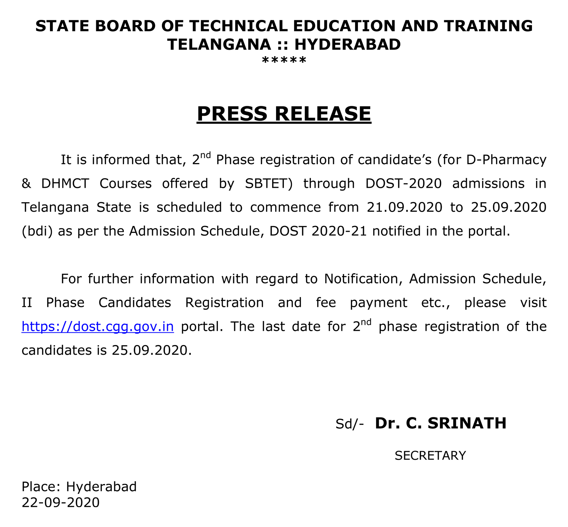SBTET 2nd Phase (For D-Pharmacy & DHMCT) Registration Admission Scehdule 2020-21