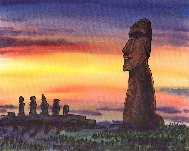 Gorgeous Sunset With Magical Statues Of Easter Island Chile Watercolor by Irina Sztukowski