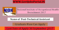 National Institute of Occupational Health Recruitment 2017– Technical Assistant, Technician