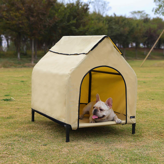 AmazonBasics Elevated Portable Pet House - Small, Khaki