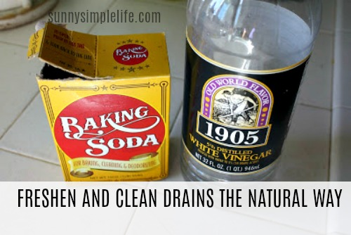 baking soda, vinegar, homemade drain cleaner