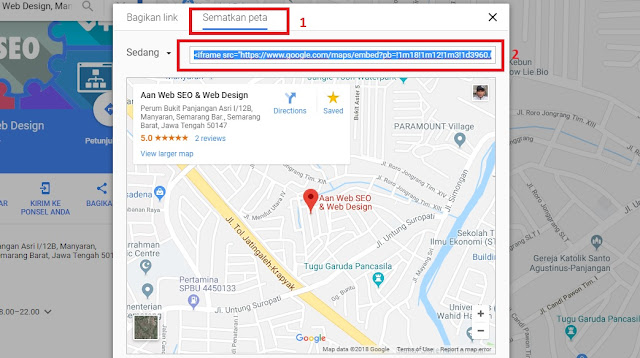 cara embed Google maps di website