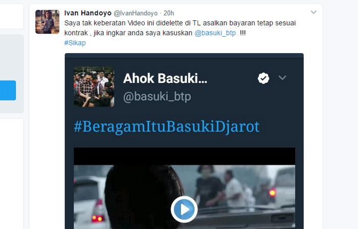 Video Kampanye Ahok Dihapus, Sang Sutradara Ngamuk Minta Bayaran Sesuai Kontrak, Jika Tidak..