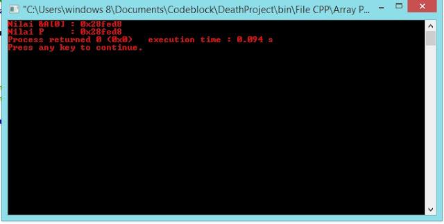 Outputprogram Pointer ke Array