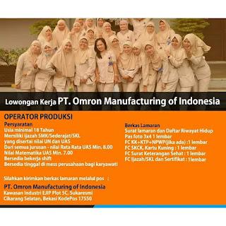 Info Lowongan Kerja PT. Omron Cikaran Bekasi Operator Produksi