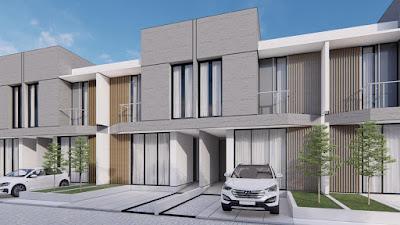 Ilustrasi Rumah Modern 2 lantai dilengkapi dengan Kolam Renang Pribadi di Jl. Amal Luhur Kapten Muslim Medan - Komplek Athome